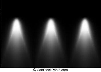 Tres fuentes de luz blanca y negras. Vector