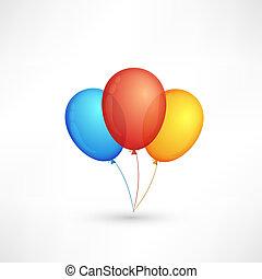 Tres globos coloridos aislados de fondo blanco