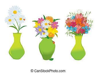 Tres hermosas flores en vector de jarrones coloridos