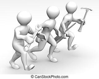 Tres hombres con herramientas. Mantenimiento