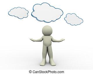 Tres hombres con nubes