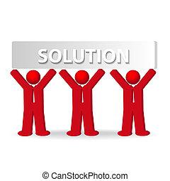 Tres hombres de negocios trabajando en equipo, concepto de solución