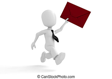 Tres hombres entregando el correo