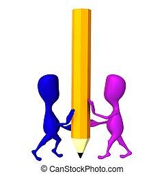 Tres marionetas balancean un gran lápiz amarillo