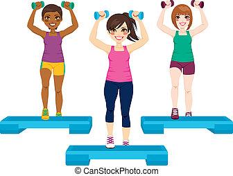 Tres mujeres hacen ejercicio