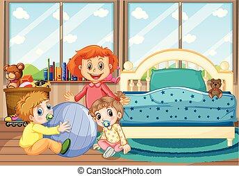 Tres niños en el dormitorio con cama azul