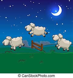 Tres ovejas saltando sobre la valla. Cuéntalos para dormir.
