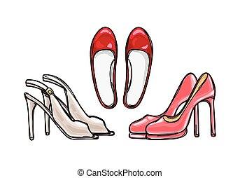 Tres pares de zapatos de tacón. Un calzado elegante