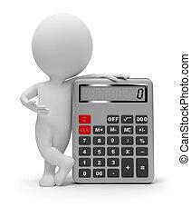 Tres pequeñas personas, calculadora