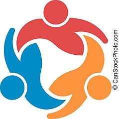 Tres personas alrededor del círculo. Concepto grupo de personas unidas