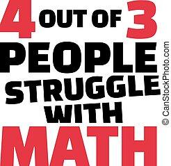 tres personas, cuatro, divertido, math., saying., lucha, afuera