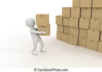 Tres personas pequeñas y un montón de cajas de cartón