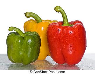 tres, pimientas, blanco, peppers., fondo.
