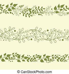 Tres plantas verdes, patrones horizontales de fondo fijos