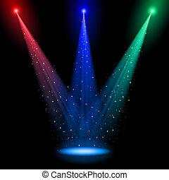 Tres pozos de luz conicales de RGB