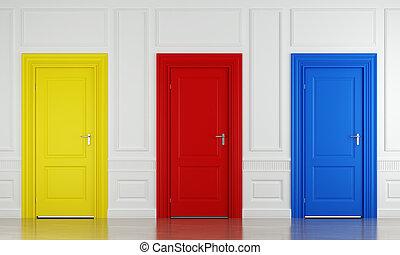 Tres puertas de color