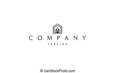 tres, resumen, dentro, logotipo, imagen, silueta, house., vector, hojas