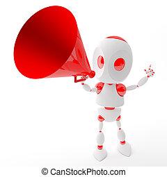 Tres robots gritan con un megáfono rojo