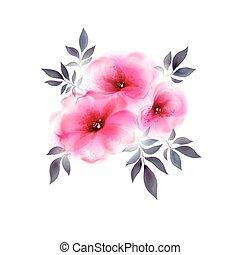 tres, rosa, oferta, flores