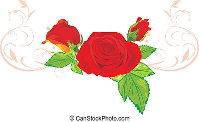 Tres rosas rojas con adorno