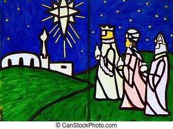 Tres sabios de la escena de la natividad