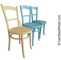 Tres sillas antiguas pintadas