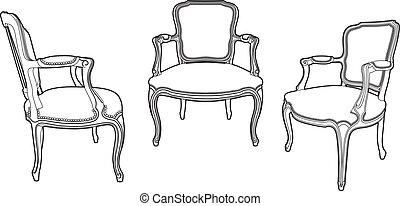 Tres sillas de dibujo con estilo