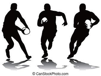 Tres siluetas de rugby