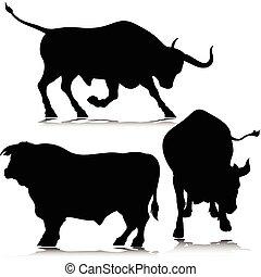 Tres siluetas de vector de toros