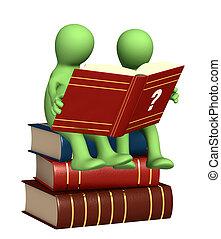 Tres títeres, leyendo el diccionario