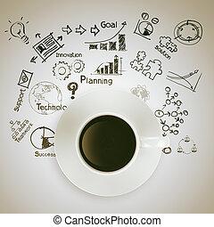 Tres tazas de café en el diagrama de estrategia de negocios