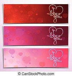 Tres te quiero, pancartas rojas