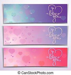Tres te quiero, pancartas, rosa púrpura
