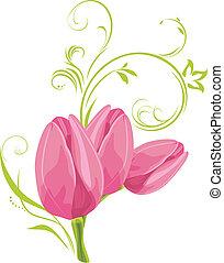Tres tulipanes rosas con sprig