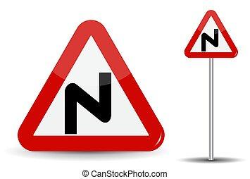 triángulo, illustration., denoting, turns., warning:, señal, depicted, vector, camino, peligroso, línea curva, muchos, esquemáticamente, rojo