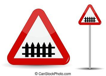 triángulo, illustration., fence-barrier, depicted., warning:, señal, vector, camino, crossing., esquemáticamente, ferrocarril, rojo