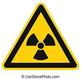 triángulo, macro, símbolo, radiación, aislado, muestra del peligro, negro, amarillo, amenaza, signage, icono, alarma, radhaz