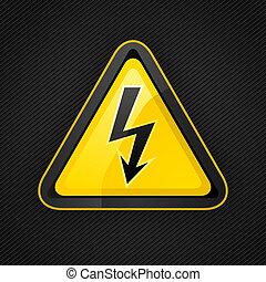 triángulo, metal, muestra del peligro, alto, advertencia, voltaje, superficie