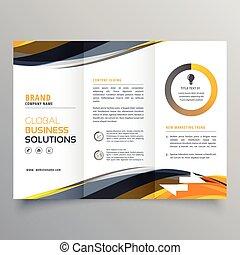 Tri doblar la plantilla de diseño de folletos con formas amarillas onduladas