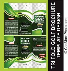 Tri doblar la plantilla del folleto de golf