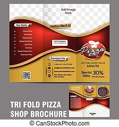 Tri doblar la plantilla del folleto de pizza