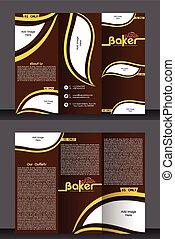 Tri Fold panadería tienda Brochure diseño de plantilla