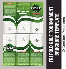 Tri pliegue el folleto del torneo de golf ilustración de vectores