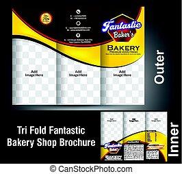 Tri pliegue fantástico diseño de la panadería