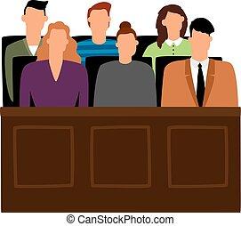 trial., procesamiento, vector, gente, jurado, courtroom, tribunal, jurados, ilustración