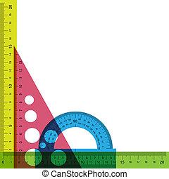 triangle., transportador, regla