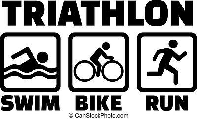 Triatlón con iconos pictogram