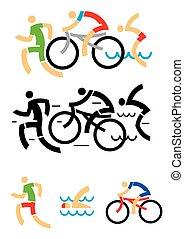 Triatlón montando iconos de natación