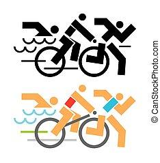 Triatlon competidores iconos