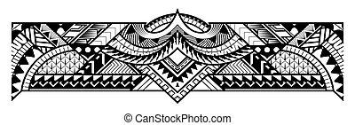 tribal, tatuaje, arte, resumen, frontera